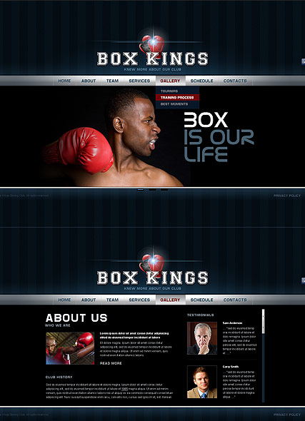Boxing Club - HTML5 templates