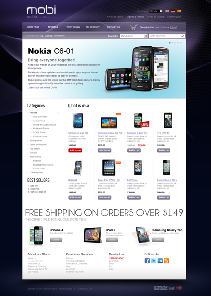 Cell Phone Website Template. website templates electronics repair ...