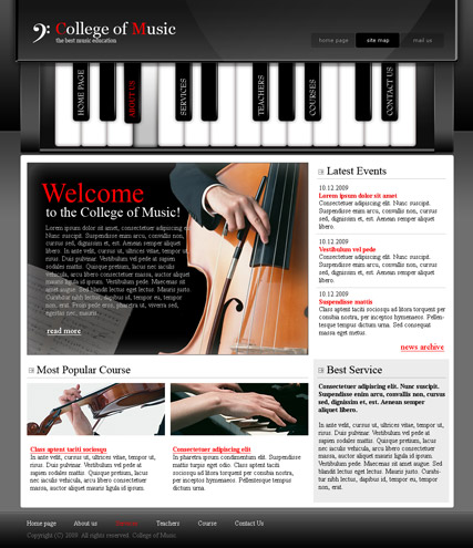 College of music - Website template