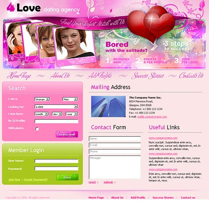 Dating agency - Website template
