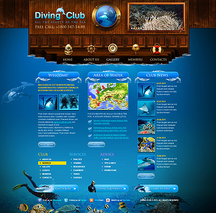 Diving Club - HTML template