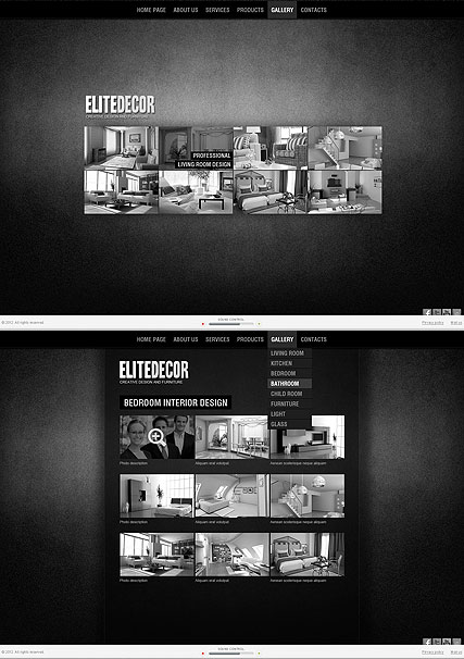 Interior design website templates for Elite interior designs