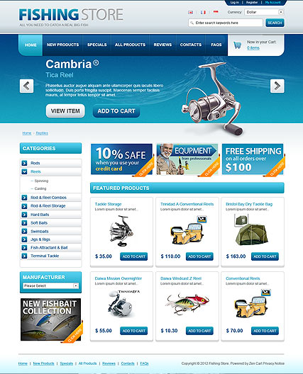 Fishing Store - OpenCart templates