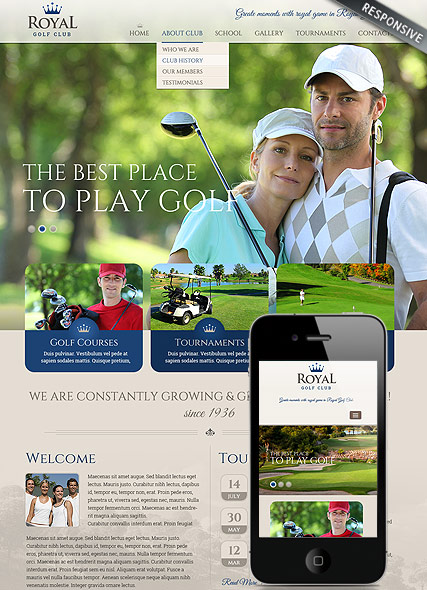 Golf club - HTML template