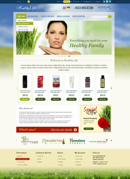 Healthy Life - OpenCart templates