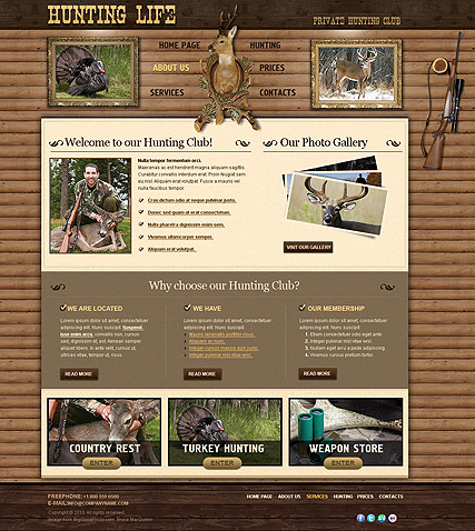 Hunting Club - Website template