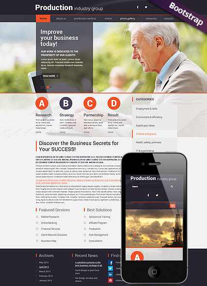 Industry Production - HTML template