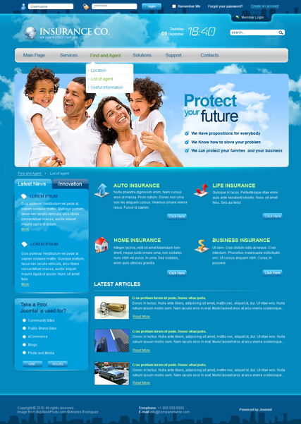 Society website templates insurance co v25 joomla templates maxwellsz