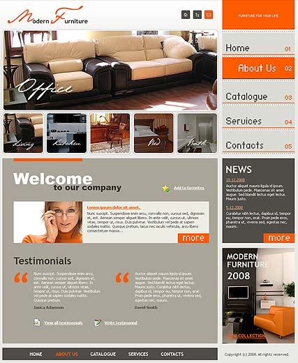 Modern furniture - Website template