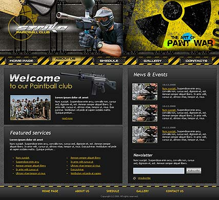 Paintball club - Website template