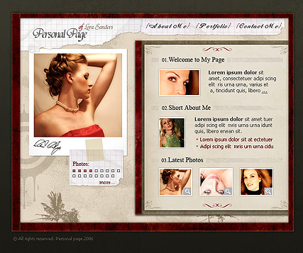 Personal page - Flash template