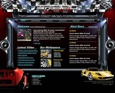 Racing portal - Flash template