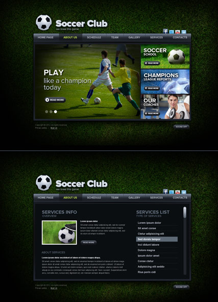 Soccer Club - HTML5 templates