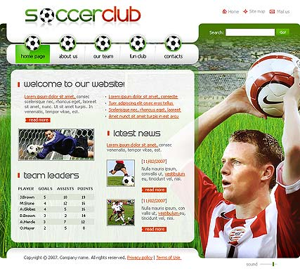 Soccer club - Flash template