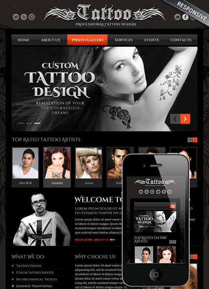 Tattoo design - HTML template
