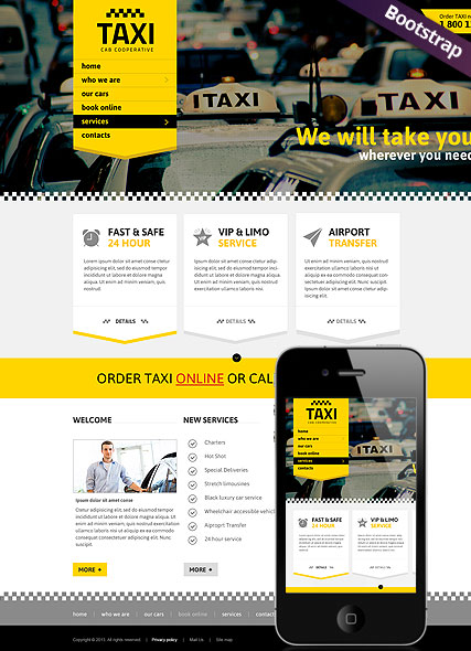 Taxi booking website template