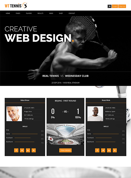 Tennis Club - HTML template