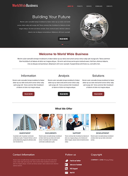 WorldWide Business - HTML template